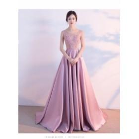 レースロングドレス 演奏会 パーティードレス 結婚式 ウェディングドレス お呼ばれ 発表会 フォーマル 二次会 ドレス ピンクドレス