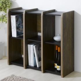 本棚 ブックシェルフ 3列2段 古木風 アルティファ 約幅88cm ( 送料無料 オープンラック ラック シェルフ A4 アンティーク風 木目
