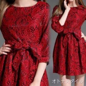 【予約】刺繍レース 大人 パフスリーブ ミニワンピース ドレス 7分袖 ウエストリボン S/M/L/XL