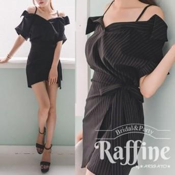 パーティードレス 韓国 ワンピース 二次会 結婚式 お呼ばれ ドレス パーティードレス ブラックドレス 黒 ストライプ