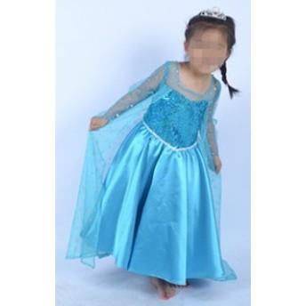 映画 ディズニー Disney Frozen キャラ アナと雪の女王風 ワンピース ドレス 女の子エルサ 子供服 コスプレ衣装H-79B