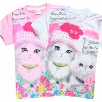 【送料無料】キッズ 子供 Tシャツ イラスト 女の子 ガールズ 猫 かわいい トップス ホワイト ピンク