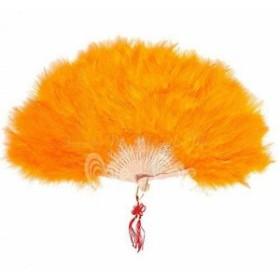 直径50cm ふわふわファー扇子 ジュリアナ扇子 ハロウィンセクシーコスプレ衣装 (オレンジ)