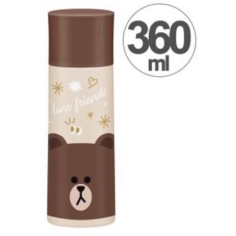 水筒 LINEフレンズ ブラウン コンパクト 直飲み&コップ付 2ウェイ中栓ステンレスボトル 360ml ( 2way コップ飲み ステンレス製