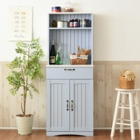 カップボード 食器棚 カントリー調 フレンチスタイル 幅60cm ( 送料無料 キッチンボード スパイスラック おしゃれ ブルー 水色 アン