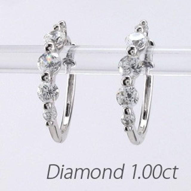 フープピアス 中折れ オーバル アニバーサリー メモリアル ダイヤモンド ダイヤモンドピアス 18金 K18 ゴールド