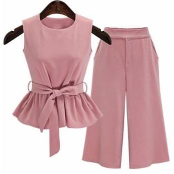 【大きいサイズ】ピンク 上下セット シフォン トップス+ズボン2点セット ノースリーブ  ワイドパンツ カジュアル