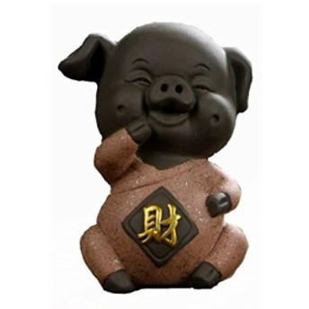 置物 茶寵 茶玩 中国茶道具 笑うブタさん (レッド×財)