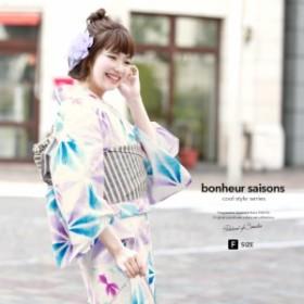 bonheur saisons ボヌールセゾン 浴衣3点セット 麻の葉 金魚 綿 レディース