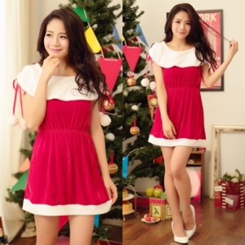 【サンタ衣装】2色 サンタコスプレ 揺れるポンポンが可愛いシンプルなサンタクロース衣装 激安コスチューム セクシー 赤色