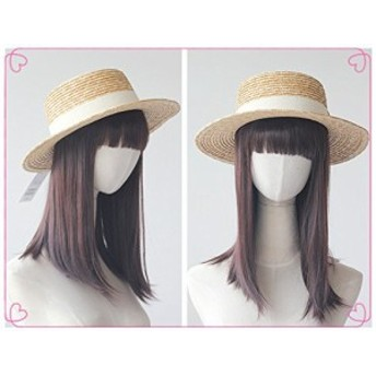 麦わら帽子/手編み/無地カンカン帽 ナチュラル 紫外線対策/帽子 レディース メンズハット uv カット