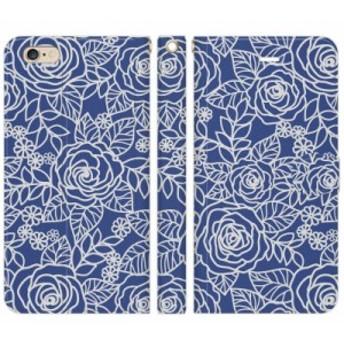 [iPhone 6 Plus / iPhone 6s Plus 手帳型 スマートフォン スマホ ケース カバー] 透かし模様 ブルー