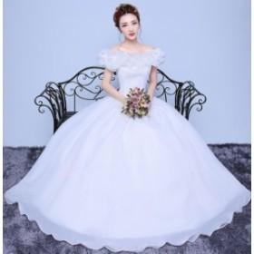 レース ウェディングドレス ホワイト パーティードレス ワンピース カラードレス 二次会 演奏会 披露宴 結婚式 発表会 代引可