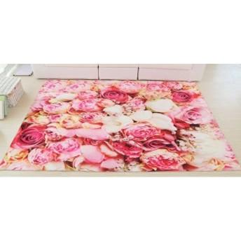 デザインマット 一面の薔薇 プリント (たくさんの花 ピンク系)