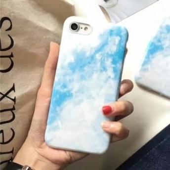 iPhoneケース 青空と雲のアート 人気のソフトケース シンプルおしゃれ