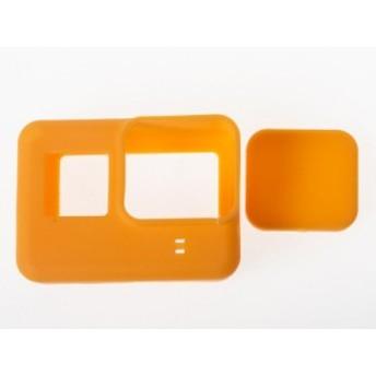アウトドア Gopro hero 5 スポーツカメラ 用 シリコン製 保護カバー ソフトケース/レンズカバー付き#橙色【新品/送料込み】