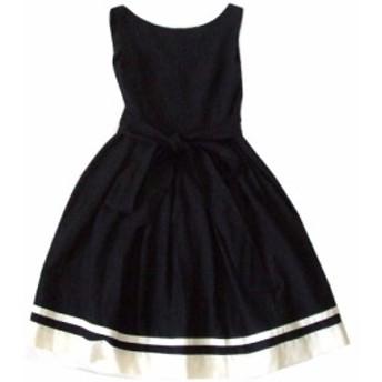 美品 Feroux フェルゥ リボンドレープワンピース (黒 ドレス) 103574【中古】