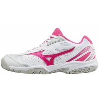 ミズノ(MIZUNO) レディース テニスシューズ ブレイクショットOC BREAK SHOT OC ホワイト/ピンク/シルバー 61GB174165 【靴 オムニ クレ