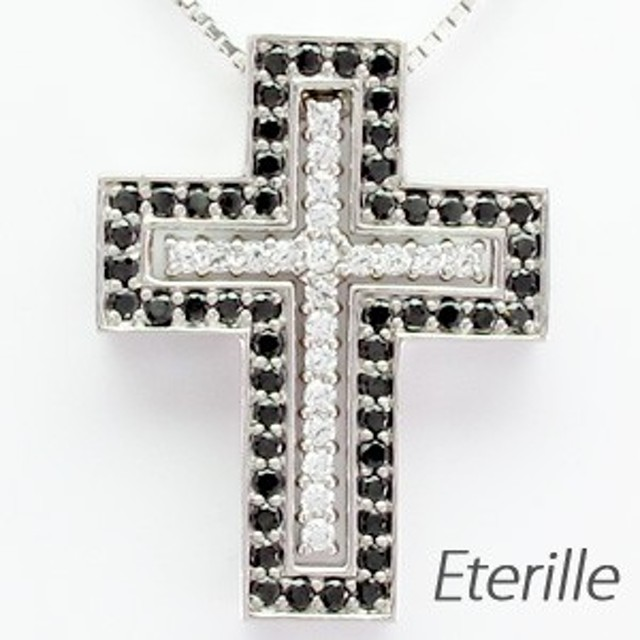 51a4e62cbe9105 クロス 十字架 ダイヤモンド ブラックダイヤモンド ネックレス ペンダント メンズ ジュエリー K18 ホワイトゴールド