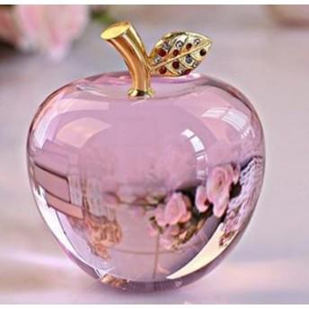 置物 小さなりんご クリスタル風 ゴールドのリーフ カットなし (ピンク)
