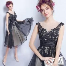 パーティードレス  二次会 結婚式 披露宴  司会者 舞台衣装 花嫁 ミニドレス Vネック ショートドレス