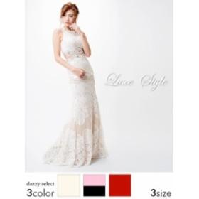 キャバ ドレス キャバドレス LuxeStyle S M L ビジュー ウエスト見せノースリマーメイドラインロングドレス ドレス 二次会 花嫁 誕生日