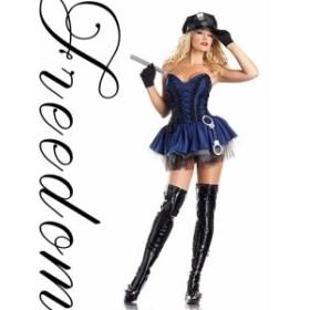 激安セール コスプレ 衣装 セクシーコス ポリス ♪フロント編み上げ&パニエスカートのセクシーポリス婦人警官コスチューム♪khcos636