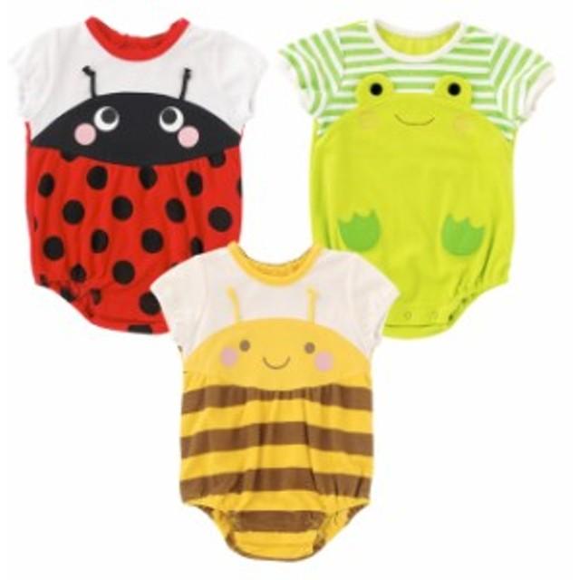 f03e4b77e28ff ベビー服 赤ちゃん 服 ベビー ロンパース 男の子 女の子 60 70 80 出産祝い なりきり半袖ロンパース