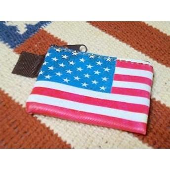 アメリカン雑貨★星条旗グッズ ミニポーチ イヤホンケース コインケース 小物入れ USA-AT0086