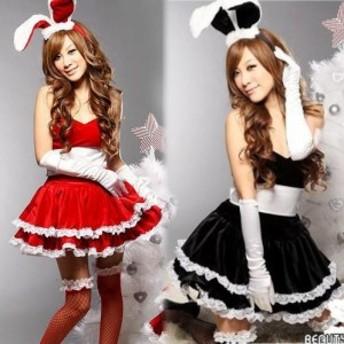 【サンタ衣装】今だけ網タイツ付き 豪華6点セット バニーガール 選べる3色(赤色、黒色、ピンク色) セクシーかわいいコスプレ衣装
