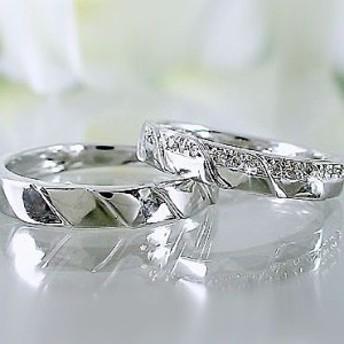 ダイヤモンド ホワイトゴールド ペアリング 結婚指輪 マリッジリング K18WG 指輪 ダイヤモンド 0.1ct