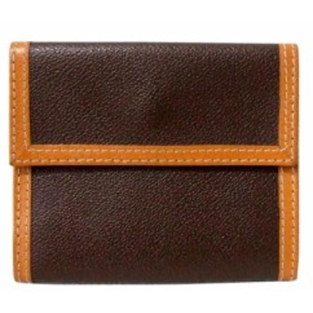 Vintage Trussardi トラサルディ クラシックレザーウォレット.折財布 (茶色 革 皮) 104179【中古】