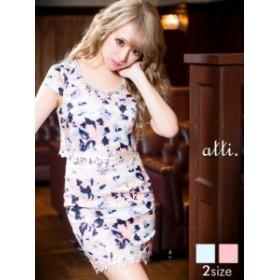 ドレス キャバドレス ワンピース 大きいサイズ S M L クラシカルローズ谷間ホールウエスト透けタイト ミニドレス dazzyQueen ピンク 青