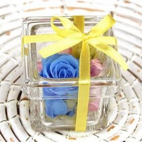 プリザーブドフラワー・ガラスの宝石箱(ブルー)
