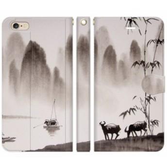 [iPhone 6 Plus / iPhone 6s Plus 手帳型 スマホケース カバー] 和柄 水墨画 :A