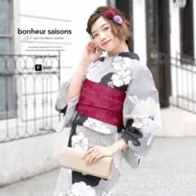 bonheur saisons ボヌールセゾン 浴衣 帯 下駄3点セット 椿 縞 綿 レディース