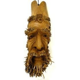 バンブーの根のアートマスクお面 40O 縦約40cm エスニック バリ アジアン アジアン雑貨