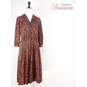 レディースヴィンテージ古着 50~60年代 Tiffany traveler ペイズリー系花柄 七分袖シャツワンピース 開襟 ひざ下丈 17lmr14f