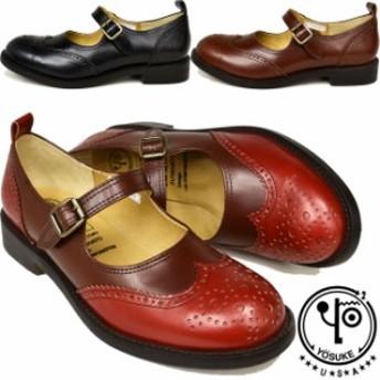 YOSUKE U.S.A 本革レザーストラップパンプス ウイングチップ おでこ靴 日本製 5510040 送料無料 (取寄)は3~5日後の出荷です。