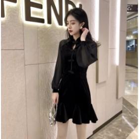 【送料無料】ワンピース ドレス フォーマル セレモニー 膝上丈 長袖 シースルー Aライン フレア パーティ 上品 BK S M L lary-1633