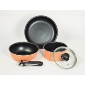 マイライフ クックウェアミニ5セット(オレンジ)IH対応 フッ素加工  HB-3703 パール金属
