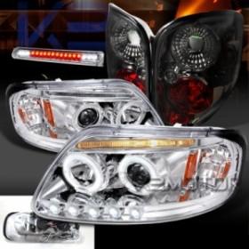 ヘッドライト 97-00 F150クロームハロープロジェクターヘッドライト LED第3ブレーキランプ煙テールライト 97-00