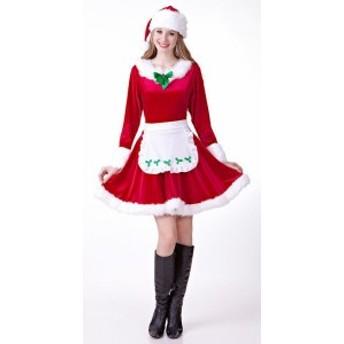 即納!サンタコスプレ衣裳 V050 クリスマス 4点セット 舞台用 演出服 サンタクロース 踊り クリスマスパーティへ!!