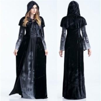 ハロウィン ハロウィーン コスプレ コスチューム 衣装 仮装 黒 ワンピース ドレス 頭飾り 舞台 レディース リスマス cos