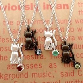 59ec205129d014 高品質 日本製 シルバー925 ネックレス◇天然石 おりこうにゃんこ 2カラー&12誕生石
