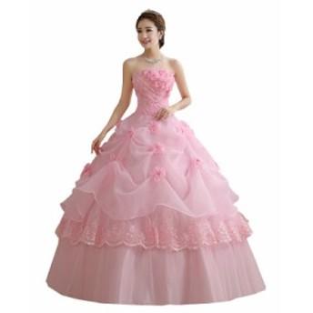 ピンク 激安 チュールスカート ウェディングドレス パーティードレス ロングドレス 撮影 舞台 演奏会 発表会 妊娠 編み上げ