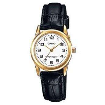 【当店1年保証】カシオCasio Women's LTPV001GL-7B Black Leather Quartz Watch