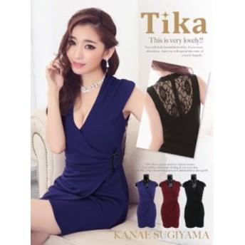 Tika ティカ カシュクールデザイン透けレースタイトミニドレス (レッド/ブルー/ブラック ) パーティー ドレス 赤 黒 青 キャバ ドレス