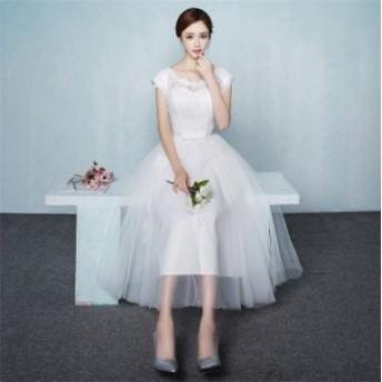 ドレス ウェディングドレス ミモレ丈 総レース 姫系 ノースリーブ ワンピ ドレス イブニング 大きいサイズ 二次会 披露宴  ホワイト