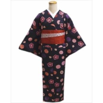 洗える単衣着物(小紋)とリバーシブル半巾帯(細帯)セット濃紫色地和柄梅ドットM・L